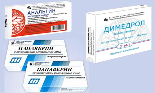 Димедрол, Анальгин и Папаверин - лекарства, которые можно принимать вместе в случае сильных приступов гипертензии, геморроя, воспаления сосудов, повышения температуры, когда действия одного препарата недостаточно