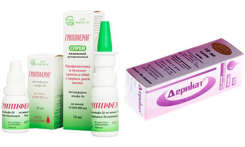 При гриппе или ОРВИ врачи прописывают Деринат или Гриппферон