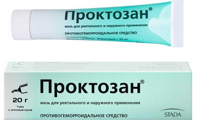 Мазь Проктозан применяется для лечения воспаления сосудов прямой кишки 1-2 стадии