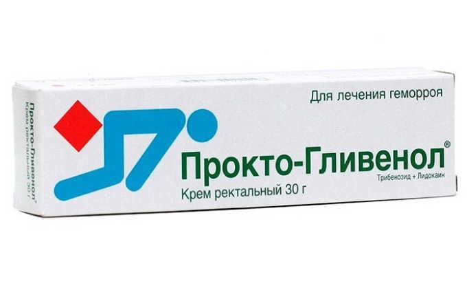 Прокто-Гливенол выпускается в тубах по 30 г, применяется наружно, имеет дополнительно специальную насадку, которая используется, если есть внутренние геморроидальные узлы