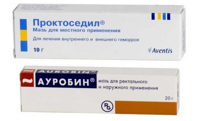 Мази и гели (Проктоседил, Ауробин). Применяются при выпадении геморроидальных узлов, наносятся на пораженные участки утром и вечером. Для повышения эффективности делают компрессы с антибактериальными мазями
