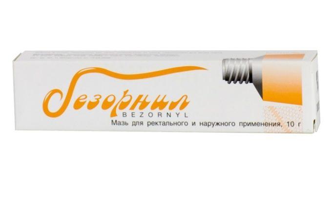 Препарат Безорнил обладает вяжущим, противоотечным и обезболивающим действием, снимает воспаление и останавливает кровотечение