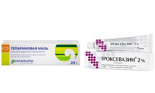 При варикозе, тромбах, геморрое и других подобных патологиях врачи могут прописать Гепариновую мазь или Троксевазин