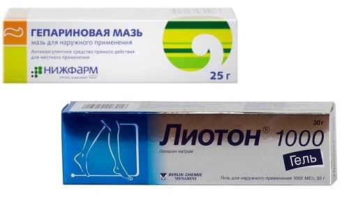 При тромбофлебите врачи часто назначают такие лекарственные средства, как Лиотон или Гепариновая мазь