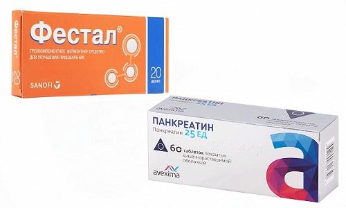 При проблемах, спровоцированных неправильным питанием, используют препараты Фестал или Панкреатин