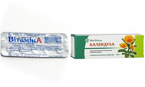 Мазь календулы и витамин А используются многими как универсальные средства для решения кожных проблем