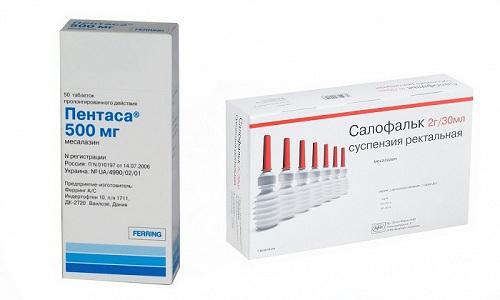 Пентаса и Салофальк относятся к кишечным противовоспалительным препаратам